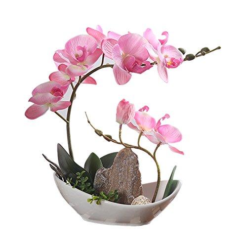 Künstliche Blumen Orchidee Phalaenopsis mit Vase für Garten/Haus/Büro Deko LianLe (Pink)