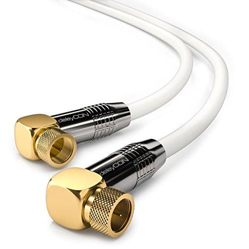 deleyCON 3m SAT Antennenkabel HDTV Satellitenkabel gewinkelt Koaxialkabel - F-Stecker (90° Grad) zu F-Stecker (90° Grad) - Weiß - Metall vergoldet