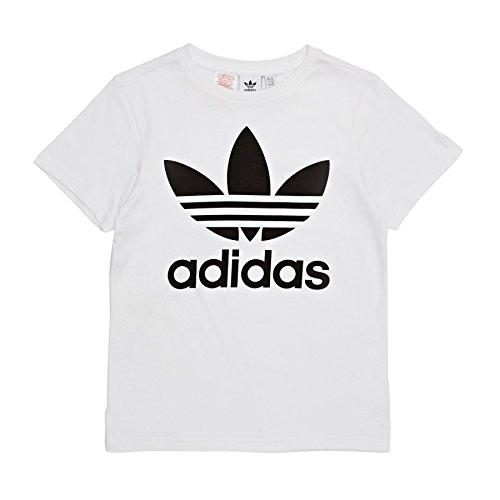 Adidas trefoil - maglietta bambini, bianco/nero, 9-10 anni (140 eu)