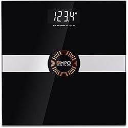 Balanza EMPO® Premium de baño, Balanza digital de alta precisión para el peso corporal, Diseño fino y elegante, Tecnología inteligente StepAndRead(Negro)