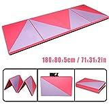 CCLIFE 180x80x5cm Rose+Violet Tapis de Gymnastique Epais - Matelas Gymnastique - Tapis Sol Gymnastique - Tapis Gymnastique Pliable, Couleur:Rose et Violet
