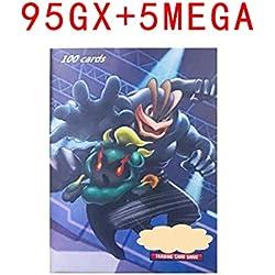 HEEHERHUO Cartes Pokemon GX Magic Elf (100PCS; 95GX + 5MEGA), Jeu de Cartes, Jeu de Cartes à Collectionner, Jeu de société.Cadeau Gratuit: 100 Pages de Stockage