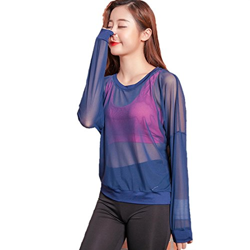 Vertvie Damen Netz Langarm Sport Shirt Blau