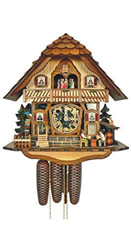 Anton schneider orologio a cucù casetta tipo foresta nera con uomini che beveno birra e ruota del mulino in movimento