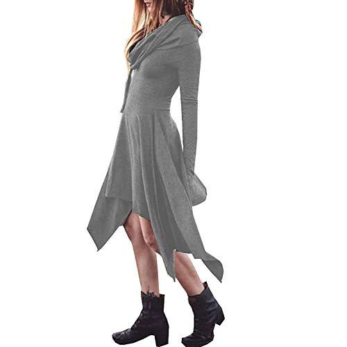 (Longzjhd Damen Kleid Frauen Herbst Weinlese gedrucktes Kleid langes Hülsen beiläufiges Abend Partei Kleid Frau Lange Ärmel Mit Kapuze Beiläufig Irregulär Saum Beiläufig Kleid)