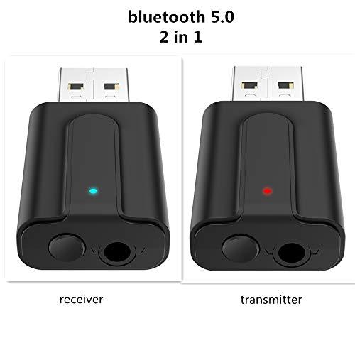 lyndeluxe USB Bluetooth Adattatore 5.0 2 1 Ricevitore/Trasmettitore Bluetooth USB Adattatore Audio Dongle Bluetooth per Casa/Auto/Laptop Jack AUX 35