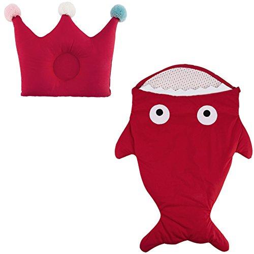Dorapocket Baby Cartoon Hai Baumwolle Schlafsack Neugeborene Säcke Swaddling Decke mit Baby Crown Kissen,Rot (Großen T-shirt Sherpa-fleece)