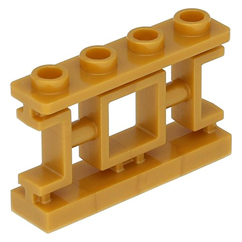 Lego Zaun 1 x 4 x 2 Dekoratives asiatisches Gitter mit 4 Noppen Perlgold