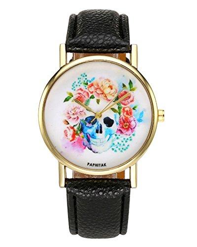 Totenkopf mit Blumen Armbanduhr Zeitloses Design Kleid Uhr PU Lederband Analog Quarz Uhr,Schwarz (Halloween-uhr)