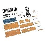 B Blesiya 4-stellige DIY Digital LED Uhr Kit Lichtsteuerung Temperatur Datumsanzeige Digitaluhr-Bausatz - Blau