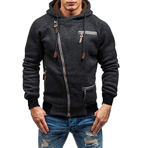 SuperSU Kapuzenpullover Hoodie Sweater Pullover Mode Sweatshirt Herren Lange Ärmel Kapuzenpulli Tops Jacke Taschen Mantel Schrägem Reißverschluss Outweart Sweatshirt Kapuzenpullover