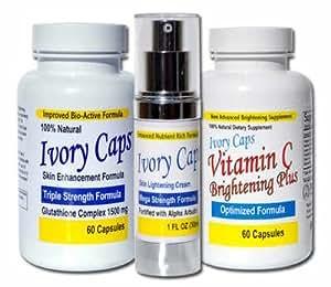 Blanchiment de peau Lightening System 1, IvoryCaps d'Ivoire, casquettes, pilules blanchissant la peau, Crème éclaircissante, Vitamine C 100% naturelle, sans effets secondaires