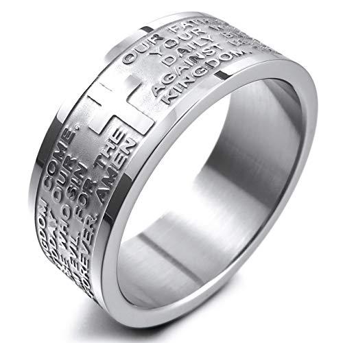 MunkiMix Breite 8mm Edelstahl Ring Band Silber Ton Englisch Bibel Herr Gebet Kruzifix Kreuz Größe 65 (20.7) Herren,Damen