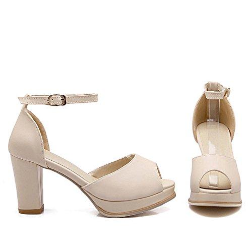 TAOFFEN Femmes Classique Peep Toe Sandales Bloc Talons Hauts Sangle De Cheville Chaussures Beige