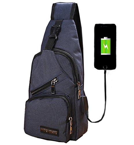 lemongirl Sling Brust Tasche mit USB Ladekabel für Herren Damen, Unisex Schulter Umhängetasche Rucksack für Reisen Wandern Camping Radfahren Mini Adult Handtasche Rucksack One Size blau (Rucksack Gesteppte Butterfly)