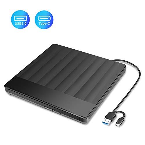 Externes DVD/CD Laufwerk, USB Typ-C und USB 3.0 DVD Laufwerk extern DVD Player Brenner und -Lesegerät für Laptop Desktop Mac MacBook, Windows 10/8/7/XP and Linux