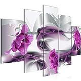 Bilder Blumen Tulpen Wandbild 150 x 100 cm Vlies - Leinwand Bild XXL Format Wandbilder Wohnzimmer Wohnung Deko Kunstdrucke Violett 5 Teilig - MADE IN GERMANY - Fertig zum Aufhängen 206353a