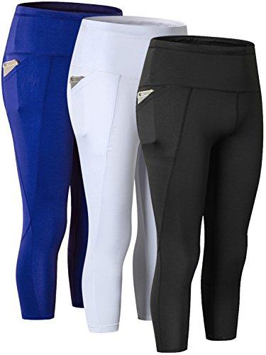 Yuerlian Damen Hohe Taille Out Pocket Yoga Pants Workout Leggings, Damen, 3/4 Capri-Black + White + Blue, US M -