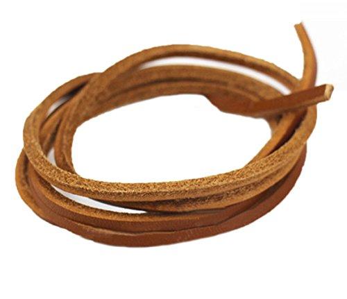 (Santimon Schnürsenkel Armband Halskette Leder DIY,ø 3 und 3 mm Hell Braun 180 CM)