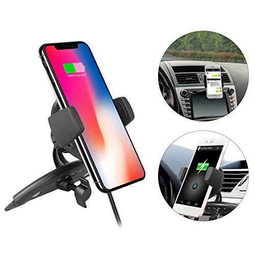 EEEKit Qi Ideal Wireless Car Charger Mount Handy-Halter CD-Slot für iPhone XS/iPhone XS Max/iPhone Xr/iPhone X/iPhone 8/8Return, Samsung Note 5/8, Galaxy S9/S9+/S8/S8+/S7/S6 Edge