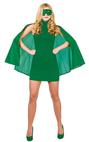 Kostüm Green Cape - Grüne Superheld Fancy Dress Cape und Maske