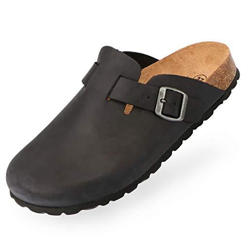 BOnova Herren Hausschuhe Wesel - Bequeme und langlebige Pantoffeln aus hochwertigem Echtleder - hergestellt in der EU schwarz 48