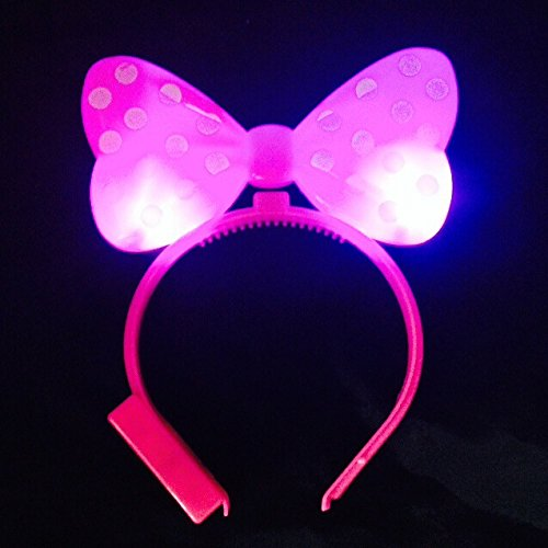 WTB Light Up Bow Ties LED blitzt blinkt Big Mickey Haar-Bogen-Haar-Band-Stirnband Halloween-Fantasie-Partei-Kugel ()