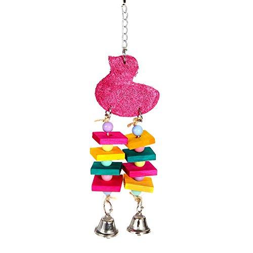 Papagei Bunte kleine Holzbrett Haustier Papagei Vogelkäfig Spielzeug Schaukeln Spielzeug mit Glocken