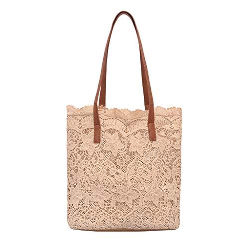 Dorical Elegant Tasche für Frauen Damen Spitze Umhängetasche, Shopper Casual Handtasche Schultertaschen Schulausflug für Mädchen Ausverkauf(Khaki)