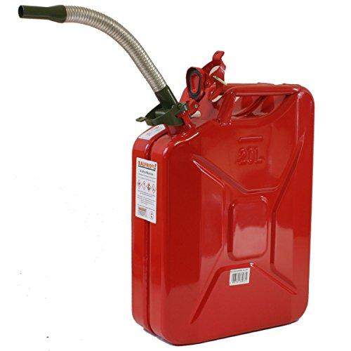 Stahlblechkanister rot 20 Liter + Benzinauslaufrohr flexibel Benzinkanister Set