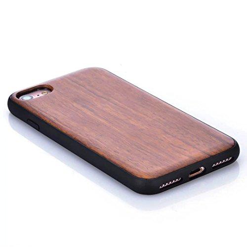 Housse pour iPhone 7, Vandot Bois Naturel Sculpté Wood Case Antidérapant Antichoc Anti-rayures Coque Etui Shell pour iPhone 7 4.7 Pouces Créatif Intéressant Motif Tape Case Cover Hull avec PC Bumper D Modèle 08