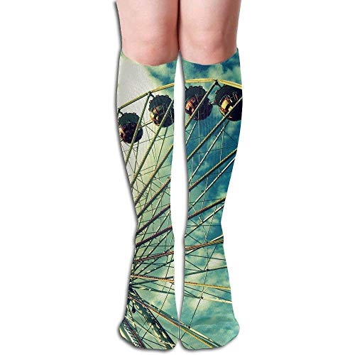 Voxpkrs Tube High Knee Sock Boots Crew Ferris Wheel Compression Socks Long Sport Stockings