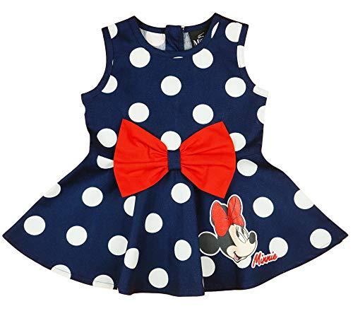 Mädchen-Kleid Disney Minnie Mouse in 74 80 86 92 98 104 110 116 122 128 134 140 gepunktet, zauberhaft gerüscht, Sommer-Kleid ÄRMELLOS, Fest- oder Freizeit-Kleid Größe 74 (Outfit Maus Minni)