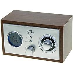 ANIKO AK-1204 Radio analógica con reloj y alarma (14,6 x 7,6 x 8,6 cm)