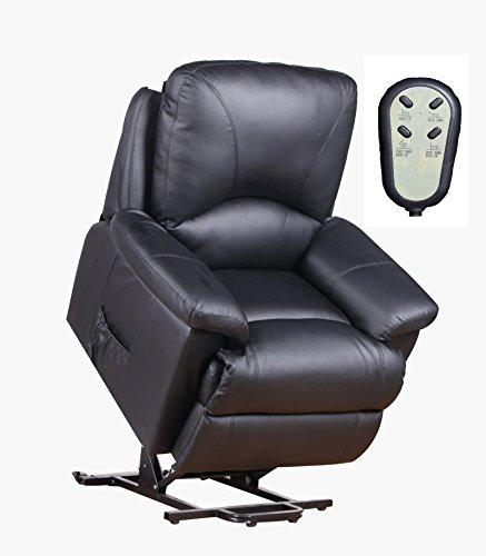 Fernsehsessel TV Relaxsessel mit elektrischer Aufstehhilfe 2 Motoren Kunstleder schwarz