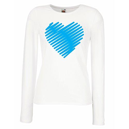 lepni.me Weibliche langen Ärmeln T-Shirt Stilvolle Herzen, ich liebe dich Geschenke Valentinstag Outfits (X-Large Weiß - Para Disfraz De Halloween Bebe
