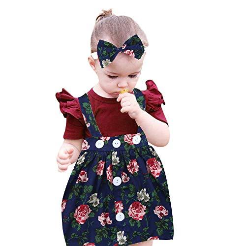 Mädchen 3Pcs Baby Kleinkind Kinder Prinzessin fest Brautkleider Kinder festlich Partykleid Festzug Kleid Ballkleid Abendkleid Kommunionkleider Overall Rock + Stirnband + Strampler Kleidung Outfits