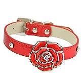 Pet Online Haustier Kragen Strass Stieg Dekorative Hundehalsband, Rot, S 1,5 × 26-34 cm