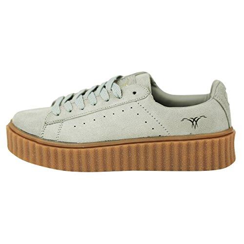 SKUTARI Damen - Plateau Low Sneakers Wildleder Schuhe, Grau , Größe 39