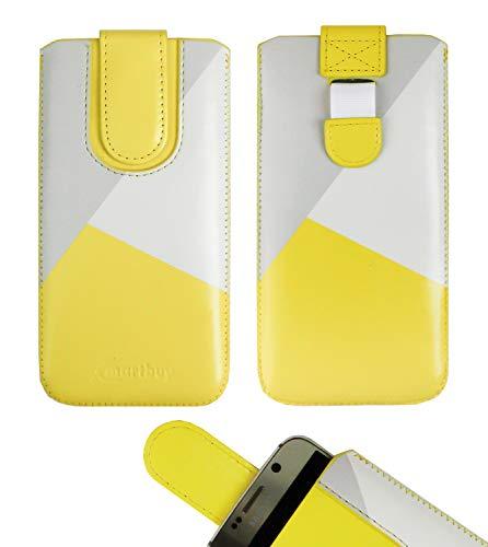 emartbuy Gelb/Grau Premium-Pu-Leder-Slide In Case Abdeckung Tashe Hülle Sleeve Halter (Größe LM3) Mit Zuglaschen Mechanismus Geeignet Für Die Unten Aufgeführten Smartphones