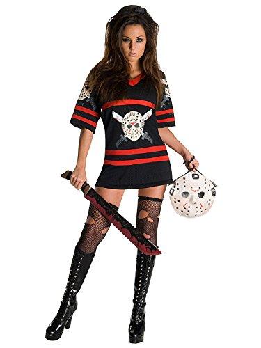 Freitag der 13. Miss Voorhees Halloween Damenkostüm schwarz rot weiss (Voorhees Kostüm Miss)