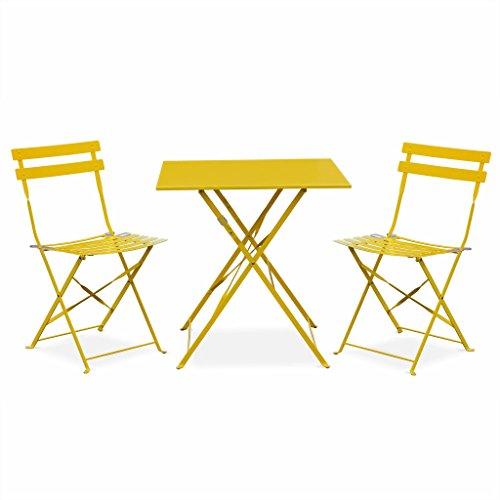 Alice's Garden - Salon de Jardin bistrot Pliable - Emilia carré Jaune - Table 70x70cm avec Deux chaises Pliantes, Acier thermolaqué