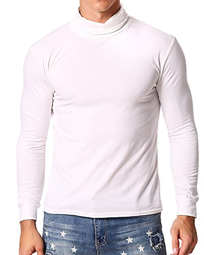 MODCHOK Turtleneck Shirt, Herren Langarmshirt Rollkragenshirt Ringelshirt Rollkragenpullover Longsleeve Slim Fit Einfarbig Weiß