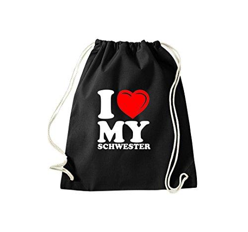 Turnbeutel I LOVE MY SCHWESTER Gymsack Kultsack Schwarz