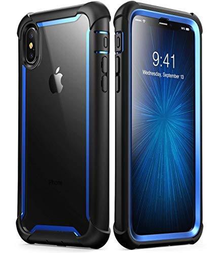 iPhone XS max custodia, i-Blason [Ares] corpo robusto trasparente bumper custodia con protezione schermo integrata per iPhone XS max di rilascio (2018) (blu)