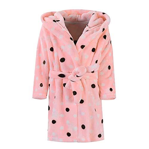 Beikoard Unisex-Kinder Bademäntel Fleece Punkte Mit Kapuze Handtuch Schlafanzug Nachthemd Morgenmantel Frotteestoff aus 100% Baumwolle