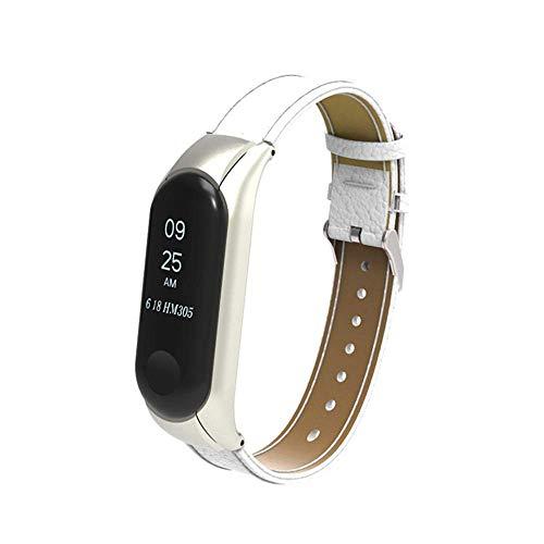 Genuiseric Lederband für Xiaomi Mi Band 3 einstellbar verstellbares Metall-Box-Armband für Ersatz-Armband (White)