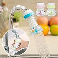 21sandwhick Tap Water Filter, Kitchen 360 Degree Rotate Water Saving Shower Head Faucet Tap Filter Purifier Pink
