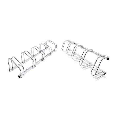 2x 5er Fahrradständer im Set, Mehrfachständer für je 5 Fahrräder, zur Boden- und Wandmontage, HBT 26 x 130 x 32 cm, silber