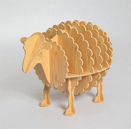 Natood Creative Schaf Regal Kleine Tisch Tier Modellierung Regale Holz Dekoration Home Decorations 66 * 54cm, Log manchurian ash -